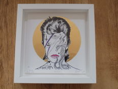 """David Bowie framed artwork by the artist """" Rugman """" complete with coa."""