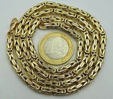 14/585 Ct Yellow Gold Round Kings's ( Byzantine) Chain,  Length 60cm width 4mm