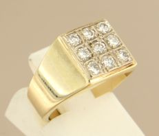 14 kt yellow-gold ring, set with 9 brilliant-cut diamonds of approx. 0.45 ct in total