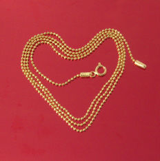 18k Yellow Gold Necklace - Bead- Modern Style- 55 cm - 3.59 gr