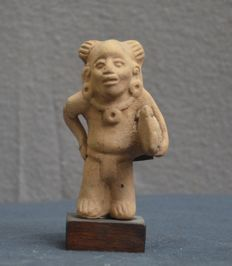 Pre Colombian figurine/flute richly decorated figure with bird