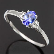 14K Gold Ring set with 0.39 cts Tanzanite and 0.02 ct Diamond, Ring Size US 7 - No reserve price