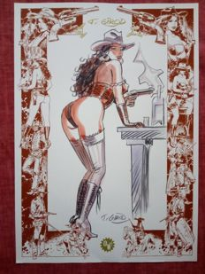 Girod, Thierry- Original Colour Drawing- Pin-up western