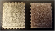 Belgium 1867 - Small Lion - OBP 23A and 25A