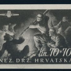 "Croatia NDH - 1945 - ""Foundation of the 1st Croatia Charge Division imperforate, Michel no. 170-172 U"