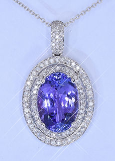 9.24  Ct Tanzanite and Diamonds necklace NO reserve price!