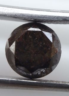 diamond 1.02 ct - round brilliant cut - clarity not mentioned on the certificate - brownish black colour