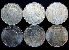 Netherlands -  10 Gulden 1970 and 1973 - 6 coins total - silver