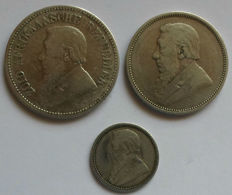 South Africa - 6 Pence 1895, 2 Shillings 1894 + 2½ Shillings 1892 'Paul Kruger' (3 pieces) - silver
