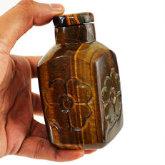 Fine Top Golden Tiger Eye Hand carved Bottle - 100x50 mm - 2415 cts