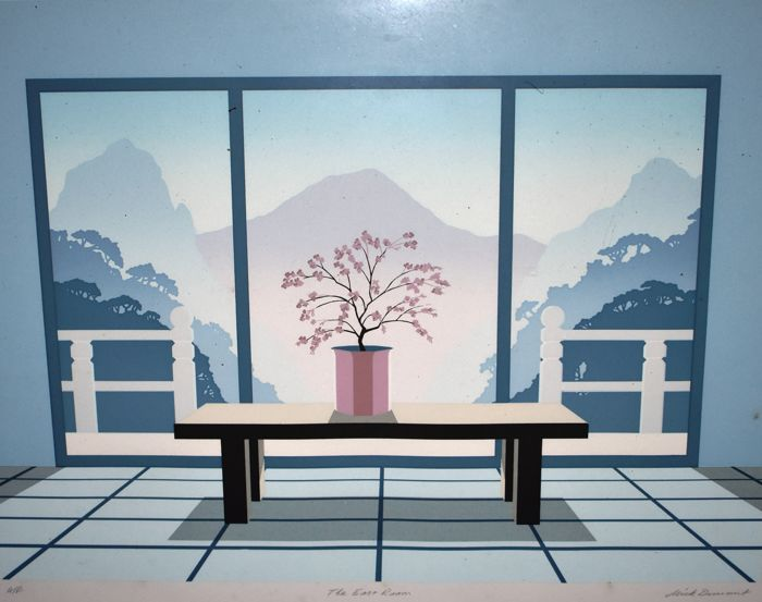 Mick Michael Durrant -  The East Wing -  A Plant on a Table looking out a patio door on to mountains