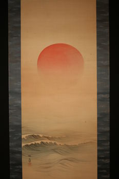 "Scroll painting - Signed and sealed 'Torei' - ""Asahi hino de"" (The Rising Sun) - Japan - Early 20th century"