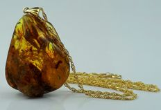 14 kt Gold Baltic Amber Pendant with 14 kt Gold chain,Chain:50 cm,Gold Weight:2.13 g,UV Tested
