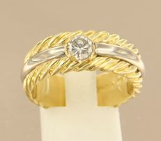 David Yurman - 18 kt bicolour gold ring set with 0.50 ct diamond - ring size: 19.5 (61)