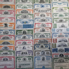 USA -  100 different shares from the era 1920 – 1990,   all with a vignet : American Banknote, Brill Motors, Childs, Coty, GM, Mattel, Pan-Am etc.