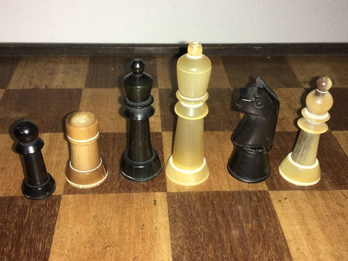 Chess pieces made of horn
