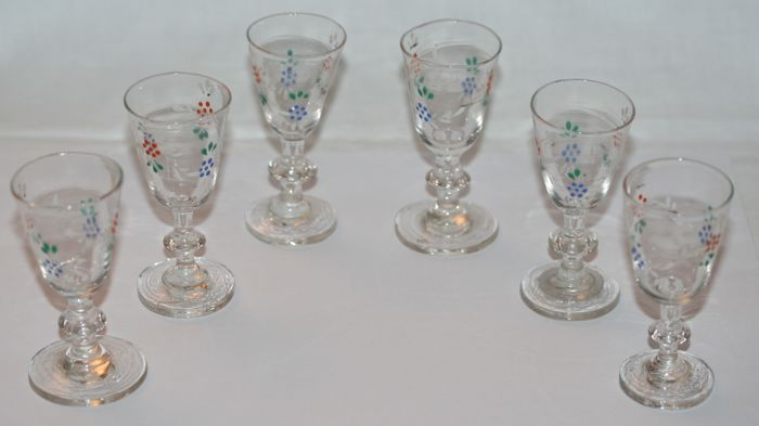Set of six antique shot glasses enamel