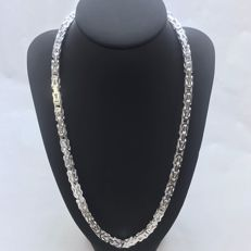 Silver (925k) king's braid link necklace - Length 55 cm - Width 6 mm - Weight 105 g