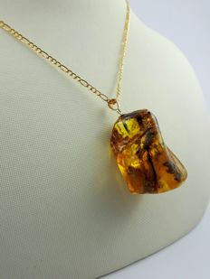 14 kt Gold Baltic Amber Pendant with 14 kt Gold chain,Chain:60 cm,Weight:8.46 g,UV Tested