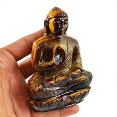 Rare Golden Tiger Eye Carved Buddha - 104x75x32 mm - 1620 Cts