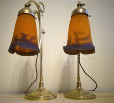 Pair of Art Deco lamps - tulips signed Muller Frères Lunéville