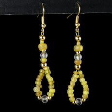 Earrings with yellow Roman glass beads - jewellery box included