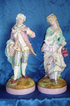French factory Letu and Mauger (1854-1893) - gallant couple in  porcelain bisque