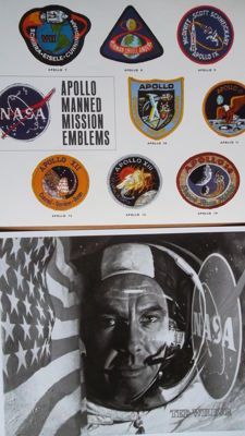 Apollo-14: Portrait of Shepard, and photo emblems