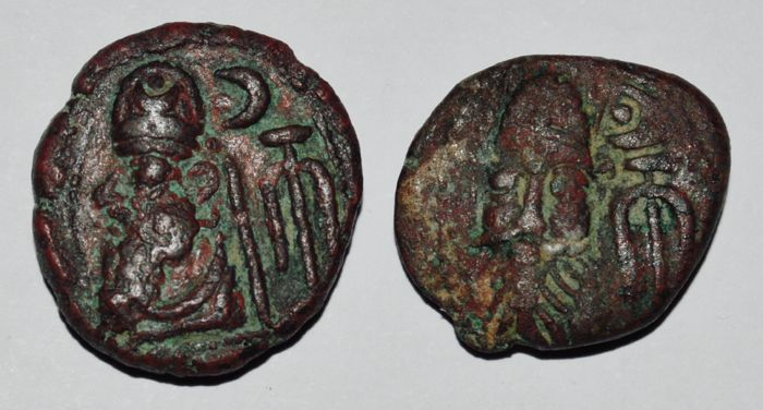 Kings of Elymais - Lot of 2 Æ Drachms: Phraates and Orodes III. Early-mid 2nd century AD