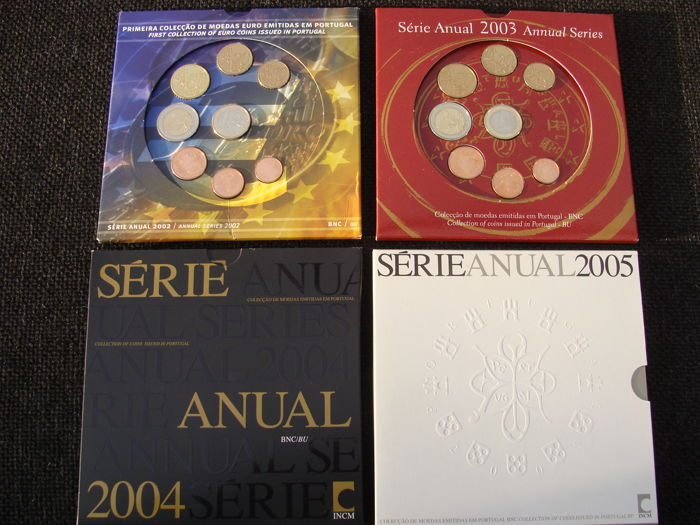 Portugal - Year packs 2002, 2003, 2004 and 2005 (4 different)
