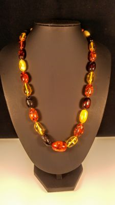 Vintage 100% Genuine multicolored olive shape bead Baltic Amber necklace, 43 grams