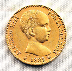 Spain - Alfonso XIII - Rare 20 pesetas gold coin - 1889 - Madrid