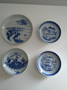 4 blue and white porcelain plates China 19th century
