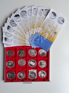Various countries - selection of commemorative Euro coins from the pre-Euro period (1996, 1997, 1998) in luxurious Lindner case
