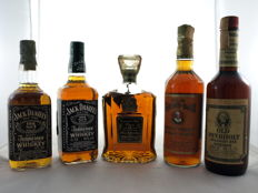 5 bottles - 2x Jack Daniel's n° 7 70cl 43%  - Canadian Club Classic 12 years Old 40% - Old Grand Dad 75cl 40% - Hold Overhold 75cl 43%