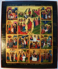 "Russian old icon "" The great feasts"", hand painted, wood, tempera, XX th century."