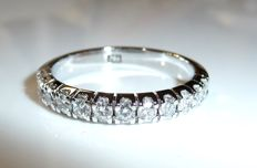 Half-memory ring in 585/14 kt white gold - 12 x 0.06 ct Diamonds G/VVS-IF 0.72 ct RS 58 like new
