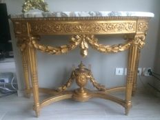 Console in gilded wood style Louis XVI, Challeyssin, Lyon, circa 1920