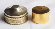 Pyx boxes - 2 pieces - especially for anointing of the sick at home or on the road - silver and possibly silver - 1st half of the 20th century