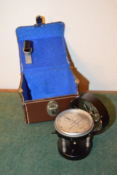 Antique Air Meter Anemometer by Casella London- in its fitted leather case - Ca 1920