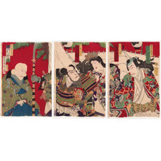 "Three original woodblock prints in complete triptych by Toyohara Kunichika (1835-1900) - ""Kiyomasa and Hideyoshi"" - Japan - 1880"