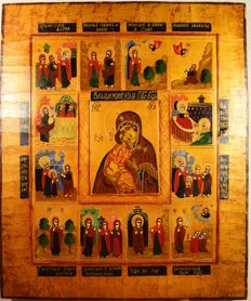 "The russian orthodox icon "" Our Lady of Vladimir with life of Saints Joachim and Anne and life of Virgin Mary, hand painted, tempera, wood, XX th century."
