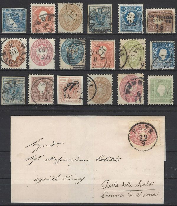 Italy Lombardy & Veneto Austria from 1850 - small collection/batch with many values, types and a letter