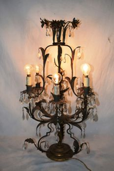 Six light tabletop lamp in lacquered iron - Italy, early 20th century