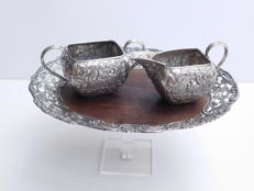 Silver three pieced cream set, G. La. Court & D. Offenberg, Haarlem, 1947