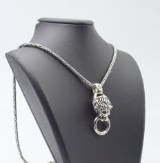 925 Italian sterling silver chain with Lion Pendant - 60 cm