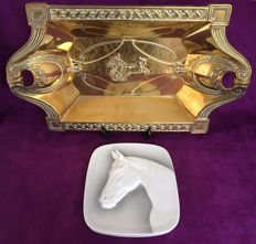 Copper empire style bowl and porcelain wall hanger
