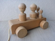 Kay Bojesen - wooden toy car with passengers