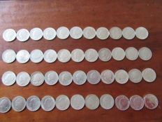 The Netherlands 1 guilder 1922 through 1943D Wilhelmina 44 pieces (4 sets of 11 pieces) - silver