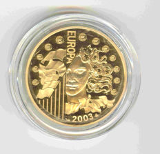 France - 10 Euros - 2003 - Europa 1st anniversary of the Euro - 1/4 oz. gold.